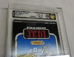 1983 Vintage Star Wars ROTJ Return of Jedi Boba Fett 77 Back AFA 70 Carded MOC