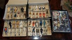 Huge Vintage Star Wars Action Figure Lot of 47 + Weapons Original WITH 3 CASES
