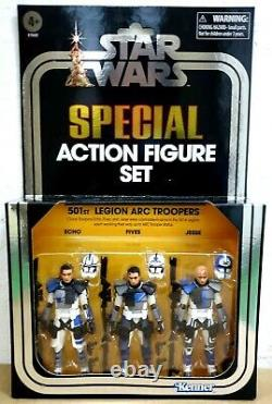 IN HAND HASBRO STAR WARS 3.75 501st LEGION ARC TROOPERS 3 PACK ACTION FIGURES