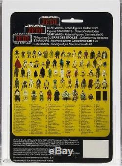 Star Wars 1984 Vintage Tri-Logo Boba Fett Lt. Blue/Unpainted Knee MOC AFA 80