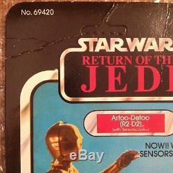 Star Wars Vintage Kenner R2-D2 Sensor Scope On Cut Card No POP 1983 ROTJ 48 Card
