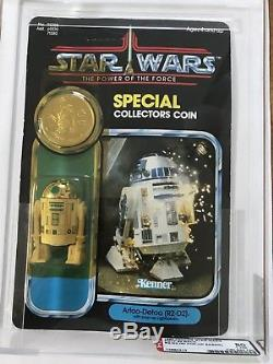 Star Wars Vintage MOC 1985 POTF R2-D2 POP-UP SABER AFA 80