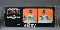Star Wars Vintage Tie Interceptor ROTJ AFA 85 MISB Clear Tape