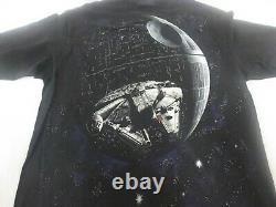 VTG 90s Star Wars Death Star Millennium Falcon T Shirt Tagged Changes L