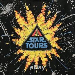 Vintage 1987 Star Wars Star Tours Promo Shirt Ride Disney Land OSFA Black USA