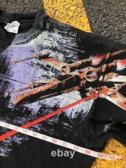 Vintage 1996 Disney Star Wars T-Shirt All Over Print Death Star Star Tours XL