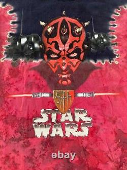Vintage 2000's Rare Star Wars Sith Darth Maul Tie Dye T-Shirt Size XL