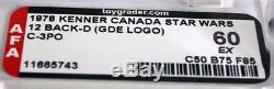 Vintage Canada Star Wars Carded 12 Back-D C-3PO GDE Logo Action Figure // AFA 60