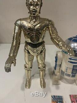 Vintage Kenner Star Wars C3PO R2D2 12 inch lot Complete Death Star Plans