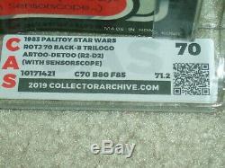 Vintage Star Wars 1983 CAS/AFA 70/80/85 R2-D2 Sensorscope TRI-LOGO MOC CLR B UNP