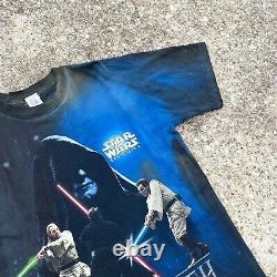 Vintage Star Wars Episode 1 Tee Sz XL Jedi Vs Sith The Phantom Menace Dyed Read