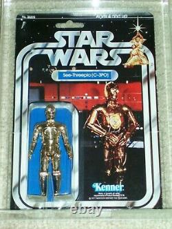 Vintage Star Wars KENNER 1978 AFA 75/80/85 C-3PO ANH 20 BACK-B MOC CLEAR BUBBLE