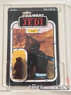 Vintage Star Wars ROTJ Jawa MOC 65 Back. UKG 75