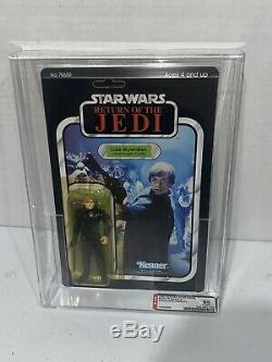 Vintage Star Wars ROTJ Jedi Knight Luke Skywalker 77 Back Unpunched AFA Grade 85