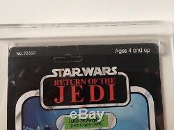 Vintage Star Wars ROTJ Luke Skywalker (Jedi Knight Outfit) MOC 77 Back. UKG 70